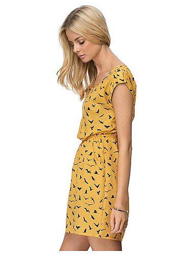 PU&PU Robe Aux femmes Trapèze Simple,Imprimé Col Arrondi Mini Coton / Polyester , yellow-s , yellow-s
