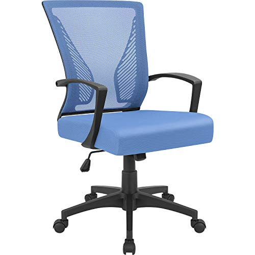 Furmax Office Chair Mid Back Swivel Lumbar Support Desk Chair, Computer Ergonomic Mesh Chair with Armrest (Blue)