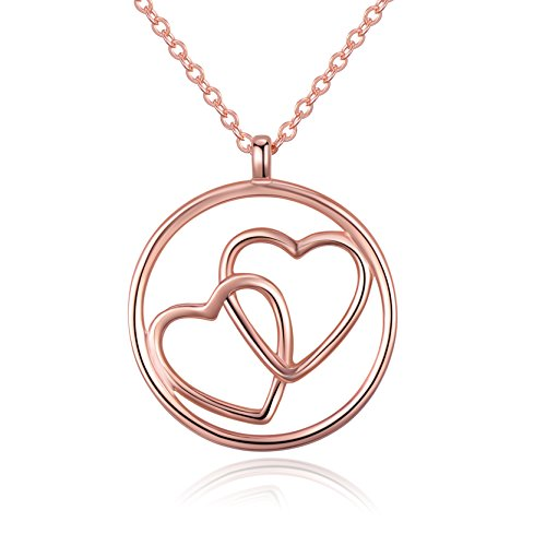 Golden Ribbon 925 Sterling Silver Women Love Heart Circle Pendant Necklace Jewelry (Rose - Gold Necklace Pendant Circle Heart