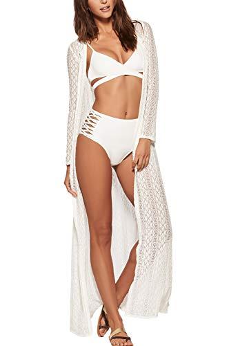 (FaroDor Women's Long Flowy Lace Kimono Cardigan Boho Style Summer Beach Open Cover Ups White)