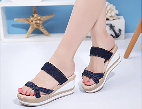 Heels Platform B Slippers sandals Fashion Flat Wedges Joker Size Sandals Sandals Summer Female Color 39 Slippers Fashion B amp; Sandals qXIaXw