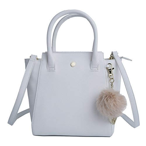 The Lovely Tote Co. Women's Small Solid PU Winged Top Handle Bag with Charm, White, One Size