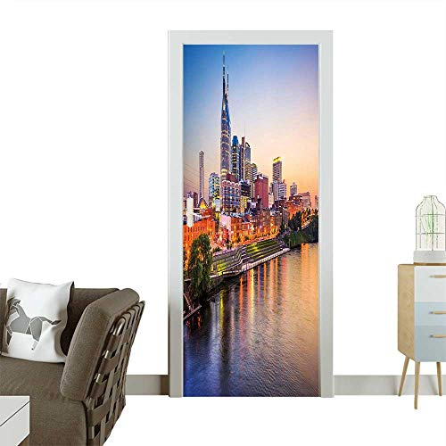(Door Sticker Wall Decals Cumberland River Nashville Tennessee Evening Architecture Travel Destination Easy to Peel and StickW35.4 x H78.7)