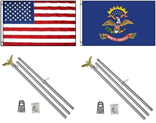 ALBATROS 3 ft x 5 ft USA American with State of North Dakota Flag with 2 Aluminum with Pole Kit Sets for Home and Parades, Official Party, All Weather Indoors Outdoors