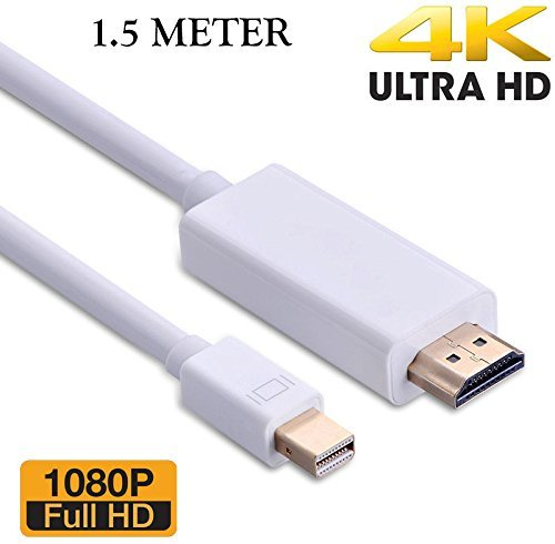 Storite Mini DisplayPort (Mini DP) Thunderbolt to HDMI, SNDIA Mini DisplayPort (Thunderbolt Port Compatible) to HDMI HDTV For iMac MacBook Pro Air LCD TV 1.5 METER – WHITE