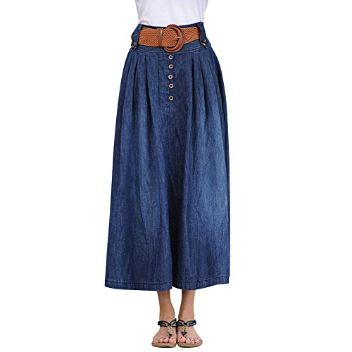 Fairyler Women Button Front Denim Pleate - Wear Jean Skirt Shopping Results