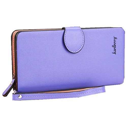 Leather Long Wallet, Zipper Wallet Multi Card Cellphone Holder Organizer Clutch Handbag for iPhone 8 plus Ladies Purse (Purple)