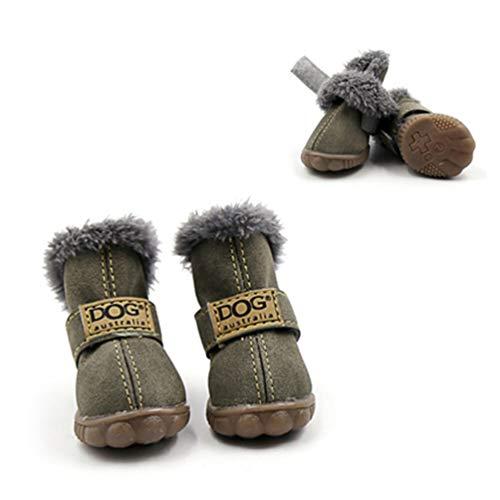 Algodón Feidaeu Antideslizantes Pequeños Invierno Para De Zapatos Verde Set 4pcs Cálido Mascotas Perros UvrUpCqw