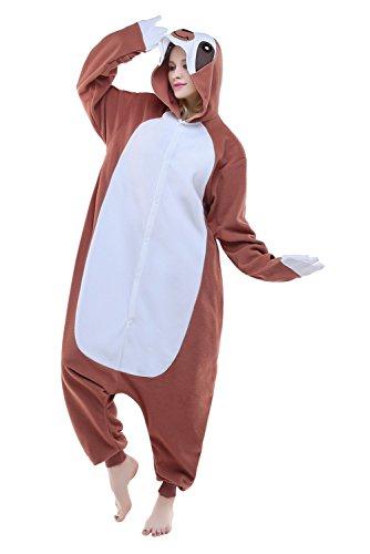 NEWCOSPLAY Adult Unisex Kigurumi Coffee Sloth Onesie Costume (M, Coffee Sloth) ()