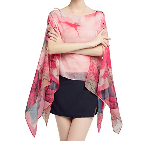 - Women's Chiffon Scarve Shawls Wraps Qunsia Floral Poncho Bikini Cover up Tops (Leaves Pink, One Size)