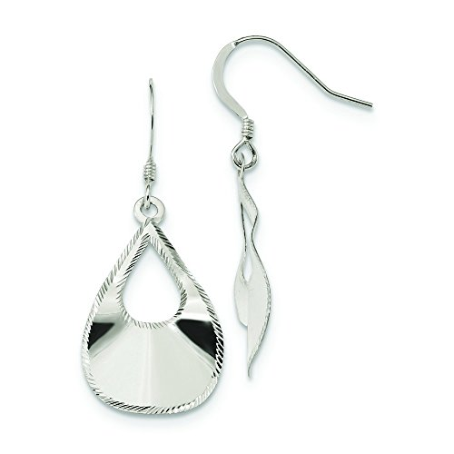16.75mm Sterling Silver Polished Laser Cut Teardrop Dangle Hook Earrings (Laser Cut Teardrop Earring)