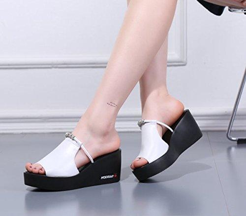 Da con suole Moda spesse pantofole 36 Donna Muffin le Sandali pendio Un Alla 7cm trentanove White Trascinare ciabattine Ajunr P4w5xIznq