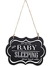 "WINOMO Baby Sleeping Sign for Door""shhh BABY SLEEPING please knock softly"" Funny Wooden shhh Baby Sleeping Sign for Front Door Bedroom Door"