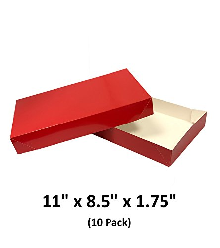 Red Christmas Gift Box (Red Apparel Decorative Gift Boxes With Lids For Clothing and Gifts 11x8.5x1.75 (10 Pack) | MagicWater Supply)