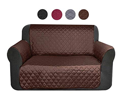 FamyFirst Waterproof Sofa Cover for Pets, Couch Protectors for Dogs Reversible Quilted Furniture Cover for Pets Sofa Slipover Non-Slip, Stain Resistant (Brown, Loveseat) by FamyFirst