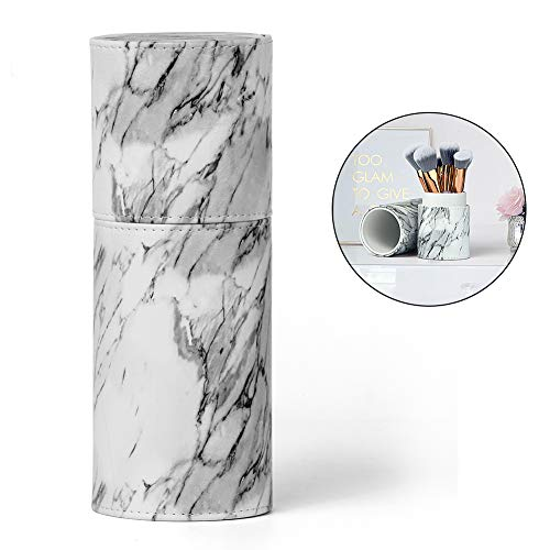 UNIMEIX Leather Marble Makeup Brushes Holder Travel Organizer Large Size Can Hold 10-18pcs Makeup Brushes (Marble) ...