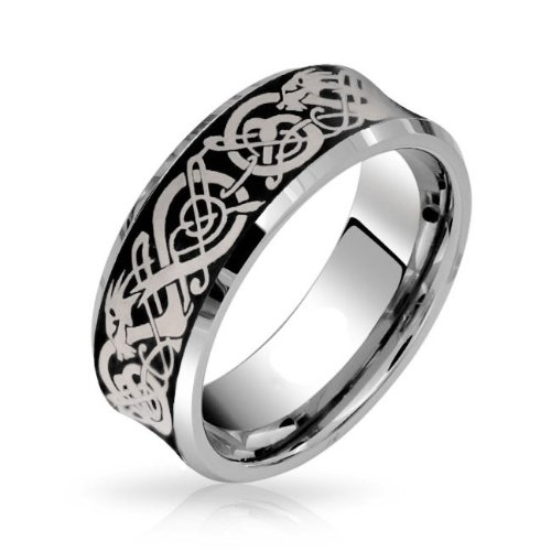 Concave Tungsten Carbide Band Ring - Bling Jewelry Celtic Dragon Mens Wedding Band Ring Tungsten Carbide Concave Belved Edge Comfort Fit