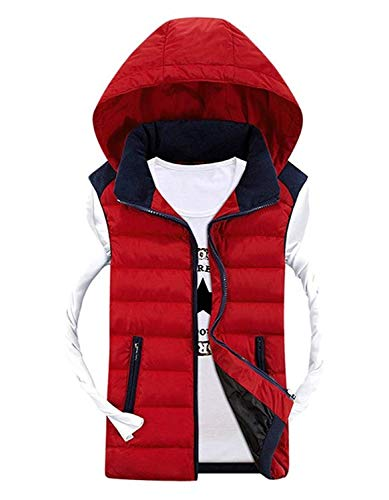 Down Vest Jacket Sport Winter Fashion Casual Jacket Hooded Final Padded Hooded Brands Sleeveless with Colors Vest Mixed Coat Warm Vest BOLAWOO Rot Men's 4W8qAA
