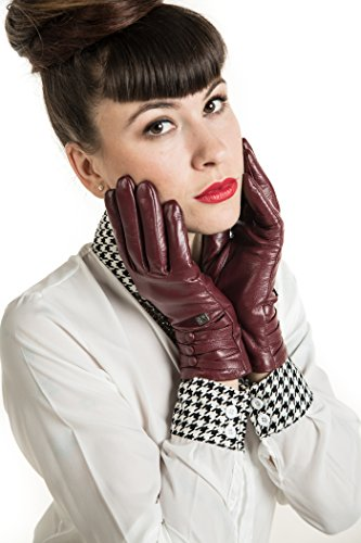 Avenue Leather Gloves (Marino Womens Warm Fashion Leather Gloves, Extreme Cold Weather Waterproof Gloves with Insulation Liner With Button Design - Burgundy - Small)