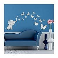 Alrens (TM) Cute Elephant Butterflies Acrílico Espejo de superficie DIY Etiqueta de la pared 3D Habitación del bebé Decoración de guardería Creativa Mural Arte de la decoración del hogar Regalo para niños