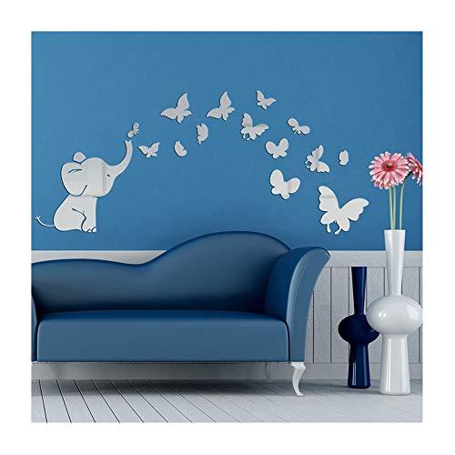 Alrens(TM) Cute Elephant Butterflies Acrylic Mirror Surface DIY 3D Wall Sticker Babys Room Nursery Decor Creative Mural Decal Art Home Decoration Gift for Kids