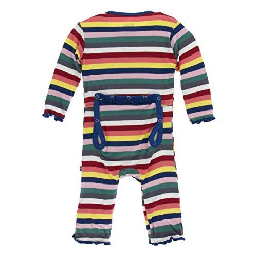 Kickee Pants Little Girls Print Muffin Ruffle Coverall with Zipper - Bright London Stripe, 6-9 ()