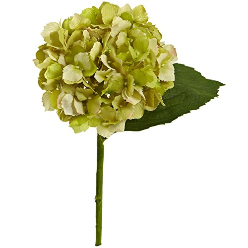 "Nearly Natural 2189-S12-GR 12"" Hydrangea Flower (Set of 12) Artificial Plant Green"