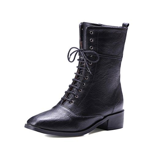 JIEEME Ladies Fashion Mid-Calf Low Heel Lace-up Square Toe Block Heels Gray Black Women Boots Black nU39T3U0D