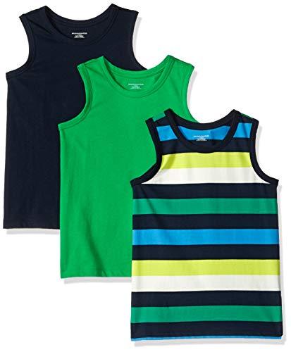 Amazon Essentials Toddler Boys' 3-Pack Tank, Bright Green/Multi Stripe Navy Blazer, 4T