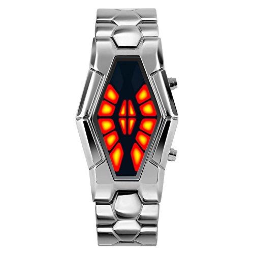 Men's waterproof sports watch,Cobra shape zinc alloy strap fashion cool two-color led boot animation wristwatch-C Animation Sports Quartz Watch
