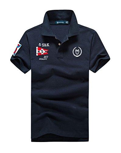 (シンアンドケン) sin&ken ポロシャツ メンズ シャツ 半袖 ポロ ゴルフウェア トップス XL ネイビー [並行輸入品]