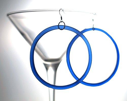 Recycled Riesling Wine Bottle Hoop Earrings - Cobalt Blue Glass