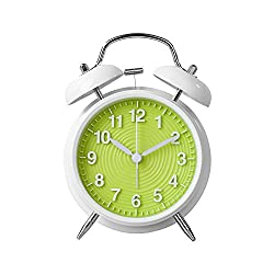 Twin Bell Alarm Clock by Handy Picks - 4 Retro Classic Quartz Non-Ticking Analog Clock, Battery Operated with Stereoscopic Ripple Dial and Backlight - Loud Alarm Clock for Heavy Sleepers (Green)