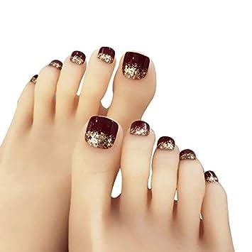 24 unids uñas falsas con adhesivo de acrílico uñas falsas para mujeres niñas uñas de pies artificiales brillantes: Amazon.es: Belleza