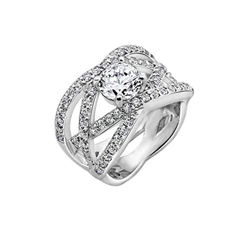 Diamonbliss Platinum Plated Sterling Silver Cubic Zirconia Solitaire Cross Over Ring, Size 5