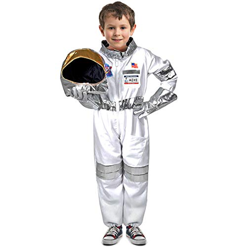 Children's Astronaut Costume Space Pretend Dress up Role Play Set for Kids Boys Girls with a Free America Flag -