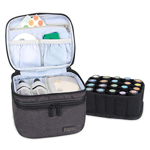 LUXJA Essential Oils Bag - Holds 20 Bottles (5ml-30ml, Also Fits for Roller Bottles), Double-Layer Organizer for Essential Oil and Accessories, Black
