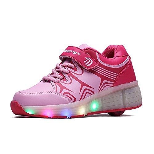 WHEELYS Skateboard Schuhe Turnschuhe Jungen und Mädchen Wanderschuhe Neutral Kuli Rollschuh Schuhe mit LED-Skateboard Lichter Blinken Schuhe Räder Schuhe Rosa1
