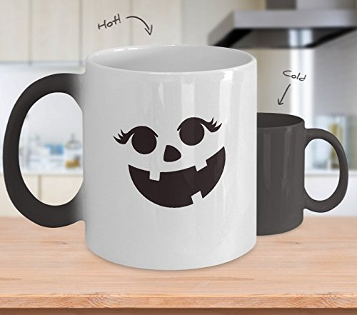 Color Changing Mug Pumpkin Face Eyelashes Halloween Costume Funny Heat Colour Change Mug Gift