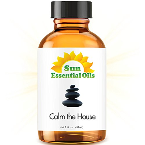 Calm The House - 2 fl oz Best Essential Oil - 2 Ounces (59ml) - Sweet Marjoram, Roman Chamomile, Ylang Ylang, Sandalwood, Vanilla, French Lavender