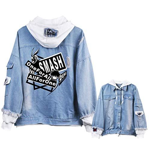 Anime Blu 6 Adulto Di My Giacca Jeans Academia Giacchetta Hoodie Ripped Denim Jacket Hero Cosstars Cosplay w4UxZq6tq