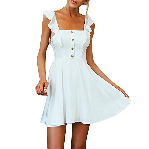 (Xinantime Solid Color Ruffle Sleeve Strap Dress Button Camis Loose Dress Square Neck Sleeveless Women A-line Dress White)