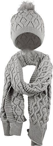 Bellady Women's Knitted Beanie Cap with Pom Pom, Scarf Two Peice Set,Grey