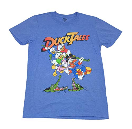 Ducktales Scrooge Mcduck Huey Dewey Louie Jumping Over Alligators Logo T Shirt