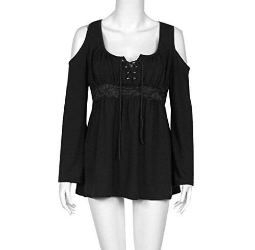 FEITONG Mujeres Algodón atractivas Suelta de manga larga Las tapas ocasionales de la blusa 6 colores Negro B