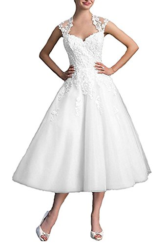 Dobelove Lace Cap Sleeves Tea Length Ball Gown Wedding Dress