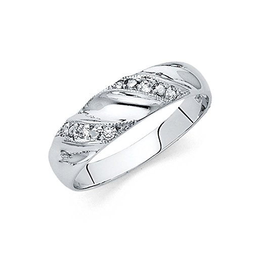 Universal Jewels 14k White Gold Solid Men's Wedding Band - Size 10.5 -