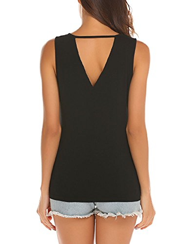 Poetsky Womens Sleeveless Workout Shirt Open Back Long Tunic Tops (S, Black) by Poetsky (Image #4)