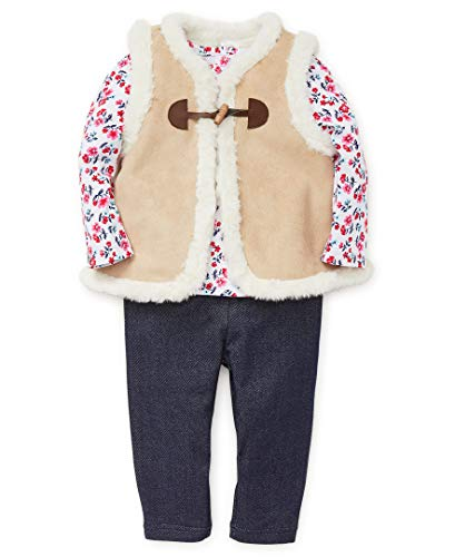 (Little Me Girls' Toddler Vest Set, tan Suede Bright White/Knit Denim, 3T)