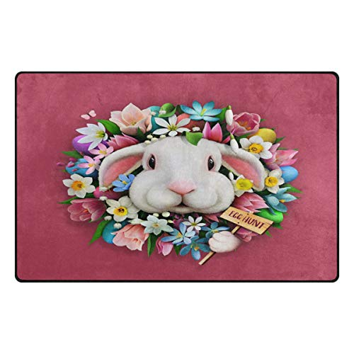 ALAZA Flower Floral Bunny Rabbit Area Rug Rugs Carpet for Living Room Bedroom 60 x 39 inches (Bunny Rugs Area Rabbit)
